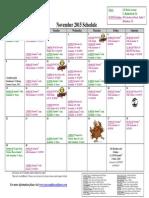 SCDNF November 2015 Schedule