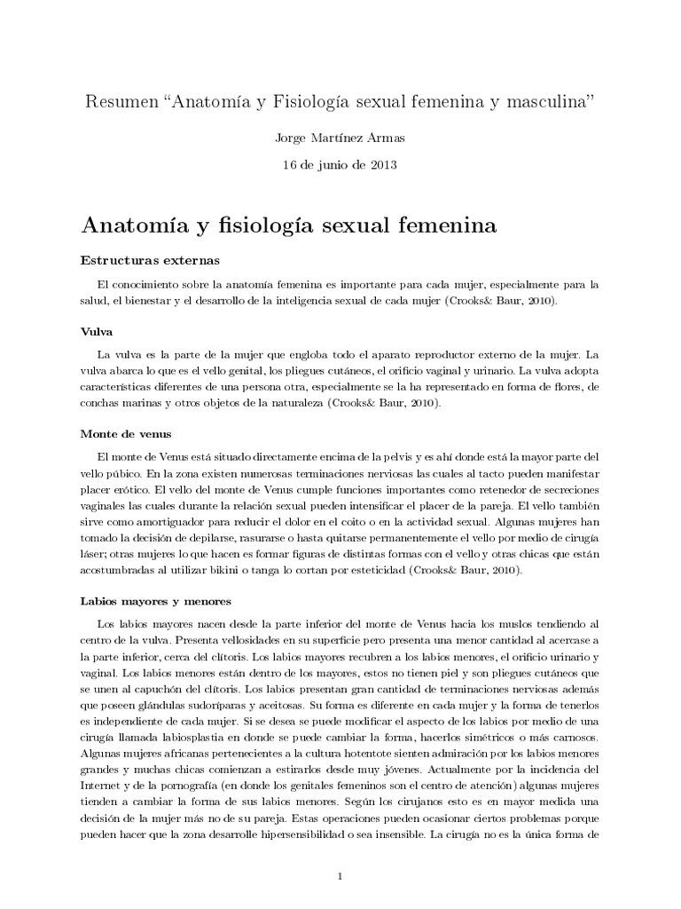 Resumen Anatomía y Fisiología Sexual Femenina y Masculina