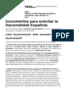 Documentación Para Solicitar La Nacionalidad Española