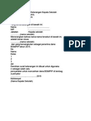 Contoh Format Surat Keterangan Kepala Sekolah