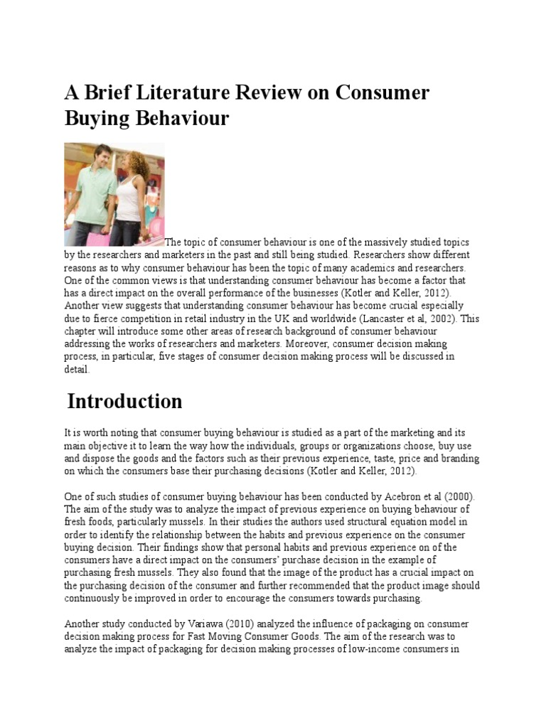 consumer purchase process and literature review