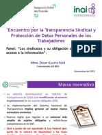 Encuentro Por La Transparencia Sindical y Protección de Datos Personales de Los Trabajadores