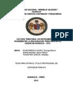 CULTURA TRIBUTARIA, UN INSTRUMENTO PARA INCREMENTAR LA RECAUDACIÓN TRIBUTARIA EN LA CIUDAD DE HUÁNUCO – 2014.