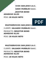 Multiservicios San Jose s.a.c Etiqueta