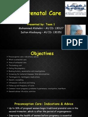 1  Antenatal Care - Team 1 | Pregnancy | Prenatal Development