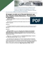 21-03-13 Acuerdo entre el gobierno de los Estados Unidos Mexicanos y el gobierno de la república de la India sobre asistencia administrativa mutua en asuntos aduaneros