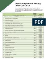 Τίτλοι Ερευνητικών Εργασιών ΓΕΛ 2014-15