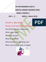 WEEKLY AGENDA 1 Main Idea - Illnesses