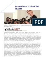 Remarks by Samantha Power at a Town Hall With Sri Lankan Youth