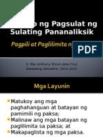 9 Pananaliksik Pagpili at Paglilimita Ng Paksa