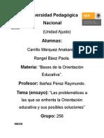PROBLEMAS DE LA ORIENTACIÓN EDUCATIVA