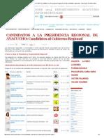 CANDIDATOS REGION AYACUCHO 2014_ Candidatos a La Presidencia Regional, Lista de Candidatos Regionales - Elecciones 5 Octubre 2014