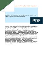 Les Homophones Grammaticaux d1