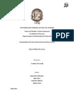 RELATÓRIO DE AULA - Sociologia Da Educação