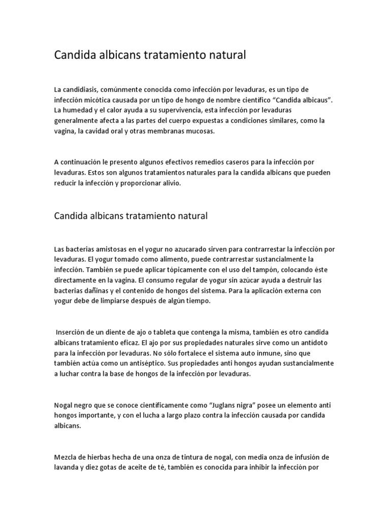 infeccion por levaduras (candidiasis) tratamiento
