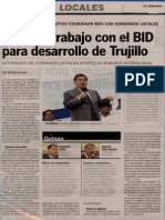 La Industria 04-03-13 Destaca trabajo con el BID para desarrollo de Trujillo