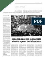 Erdogan recobra la mayoría absoluta para los islamistas (1/2)