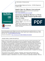 Autonomy and Social Norms in a Three Factor Grief Model Predicting Perinatal Grief in India
