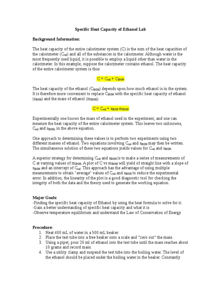 Capacidad Calorifica Del Etanol | Heat Capacity | Temperature