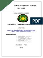 Proyecto Planta de Tratamiento chupaca