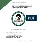 """Proyecto Educativo Curricular - Instituto Especializado de Educación Superior """"Isabel Allende"""""""