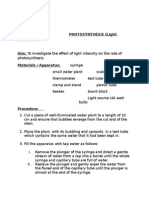 Lab 3 Agri Unit Photosynthesis Light Intensity