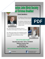 A flyer promoting the Greater Boston John Birch Society's 2015 Christmas Breakfast Saturday Dec 12, 2015