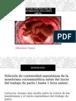 Rotura Prematura de Membranas Ovulares (RPM)