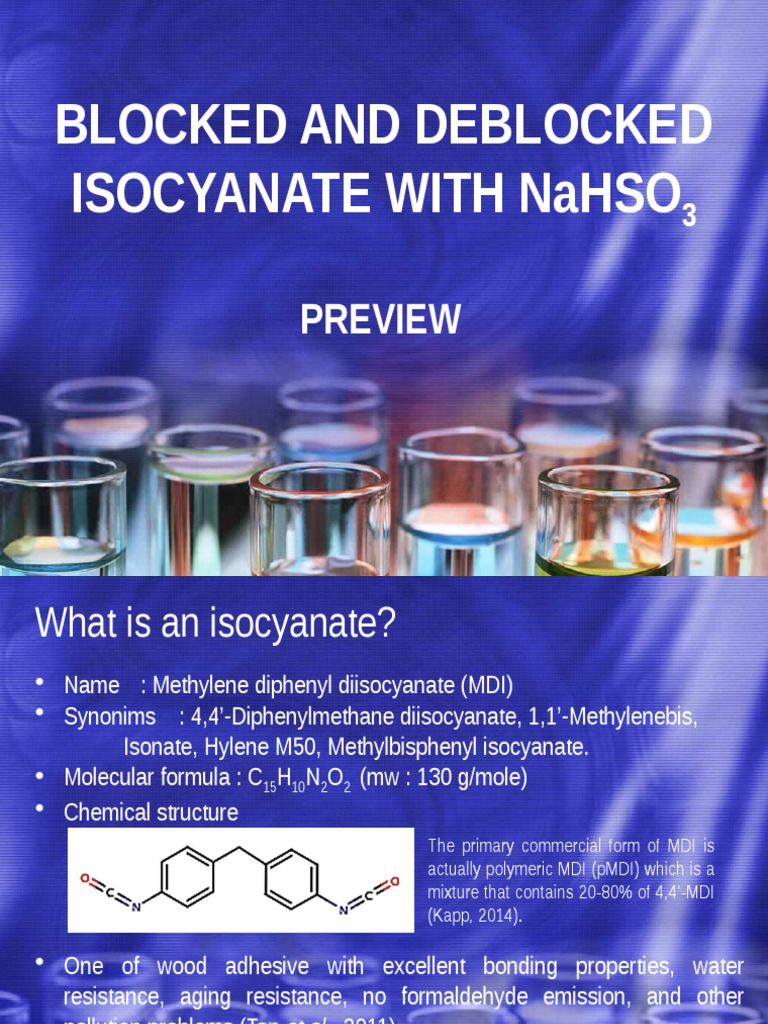 Blocked and Deblocked Isocyanate With Sodium Bisulfite | Chemistry