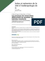 Les Processus de Conservation Differentielle Du Squelette Des Individus Immatures