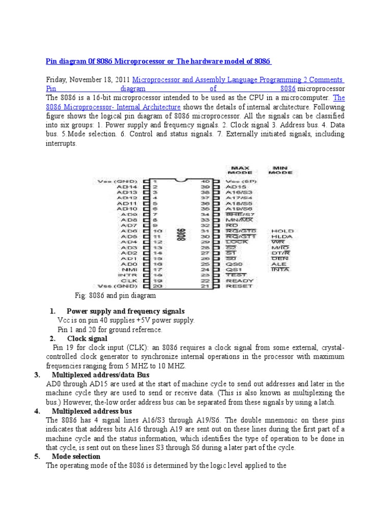 pin diagram 0f 8086 microprocessor or the hardware model of 8086 docx |  central processing unit | instruction set