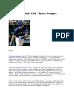 Fantasy Baseball 2009 - Texas Rangers