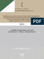 CORTE DEI CONTI 2015 10 NOVEMBRE AUDIZIONE DI BACCEI E CROCETTA DPF 2016 2018 REGIONE SICILIA