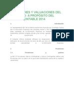 Provisiones y Valuaciones Del Ejercicio