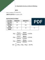 Límites de Átterberg - Equivalente de Arena