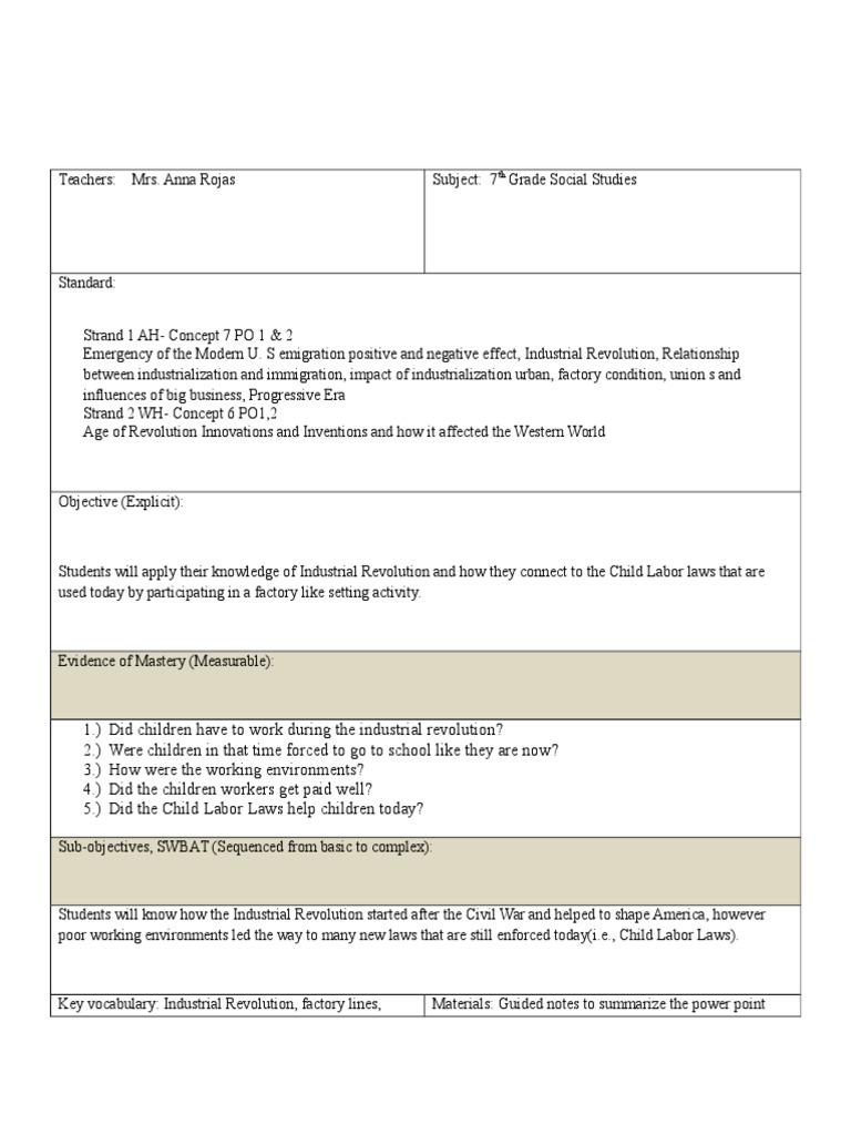 lesson plan sed 1 | Industrial Revolution | Child Labour