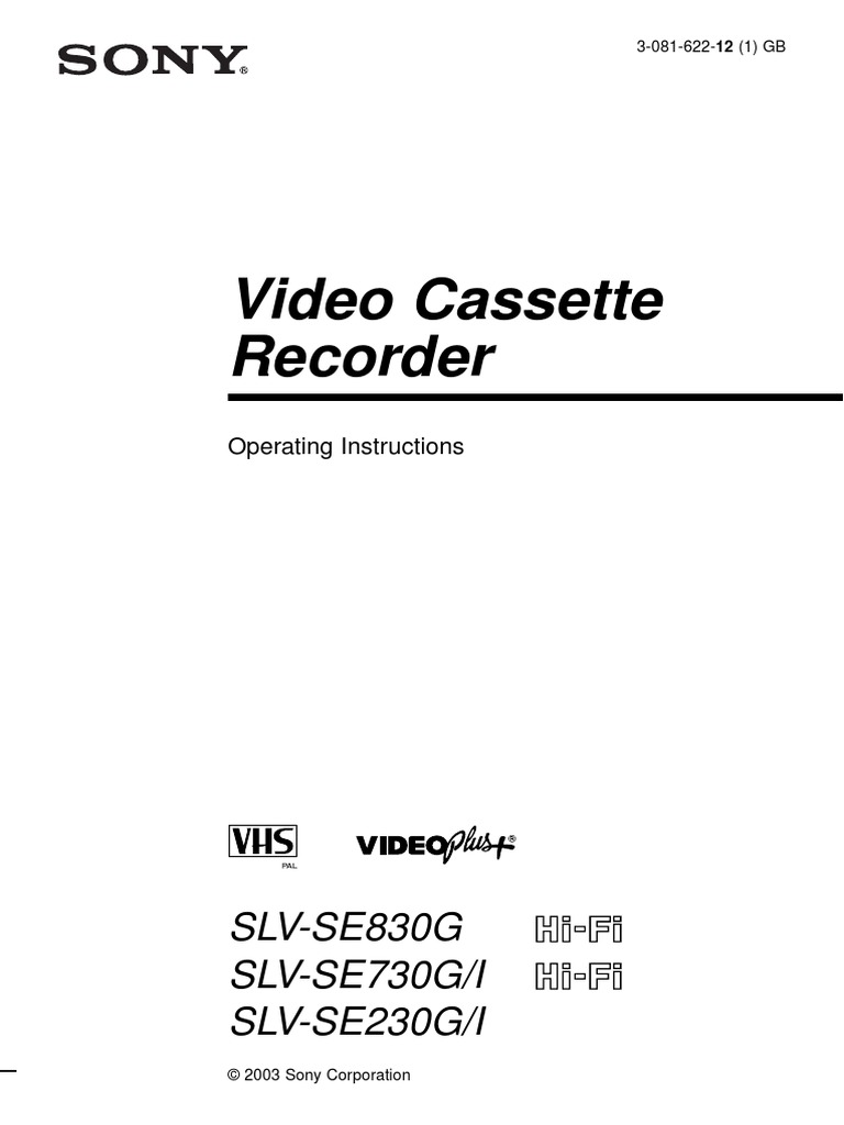 Sony Video Cassette Recorder Operating Instructions