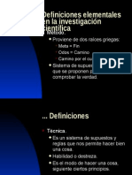 9 Definiciones Elementales de La Investigacion Cientifica