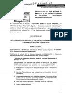 PROYECTO DE LEY 4928 QUE MODIFICA EL ARTICULO 25° DEL DECRETO SUPREMO N° 058-2003-MTC REGLAMENTO NACIONAL DE VEHICULOS