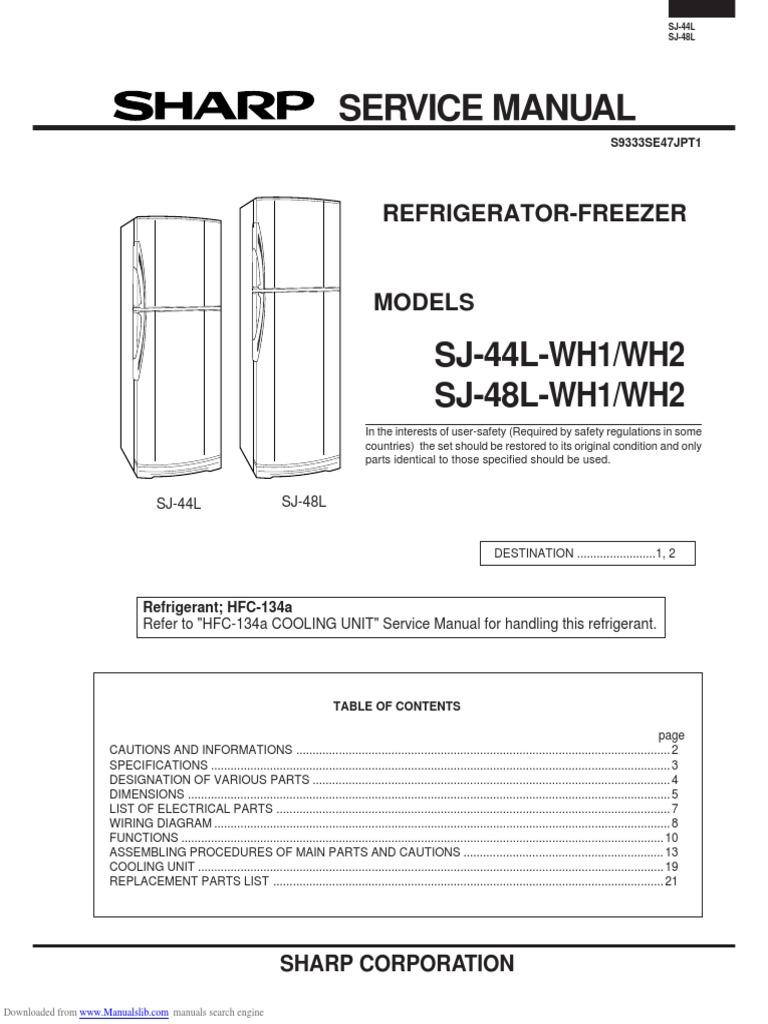 Sharp Refrigerator Sj44lwh1 Engineering Thermodynamics Model Gts18hcmerww Wiring Diagram