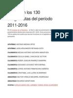 Estos Son Los 130 Congresistas Del Período 2011