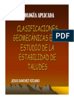 GEO APLICADA. Clasificaciones Geomecánicas