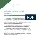 Promedios de Notas por Materias de Educación Media General