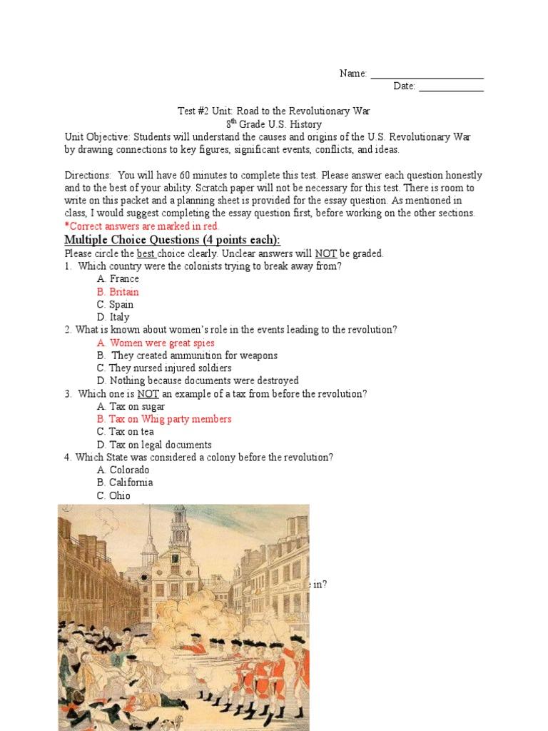 Test 2 Unit Road To The Revolutionary War American Revolution