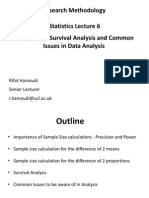 02.12.2014 - Sample Size Survival Analysis Common Issues in Data Analysis