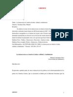 Alcántara Sáez, Manuel - La democracia en América Latina- calidad y rendimiento