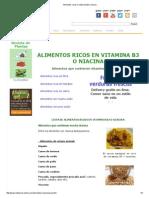 Alimentos Ricos en Vitamina B3 o Niacina