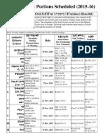 Torah Portions Schedule 2015 2016