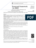 A BalaA Balanced Scorecard framework for R&Dnced Scorecard Framework for R&D