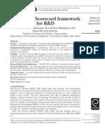 A BalaA Balanced Scorecard framework for R&Dnced Scorecard Framework for R&D